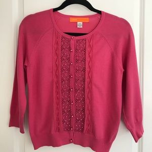 Cynthia Steffe Pink Cardigan with bead detail